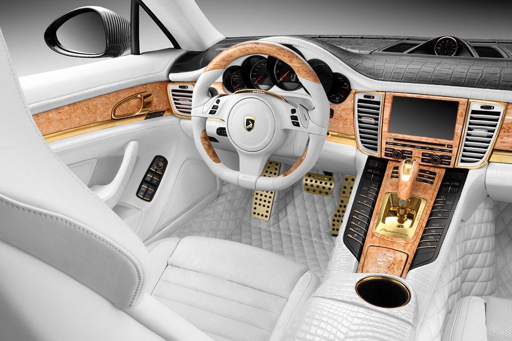 Porsche Panamera Stingray GTR se zlátým a krokodýlým interiérem 7