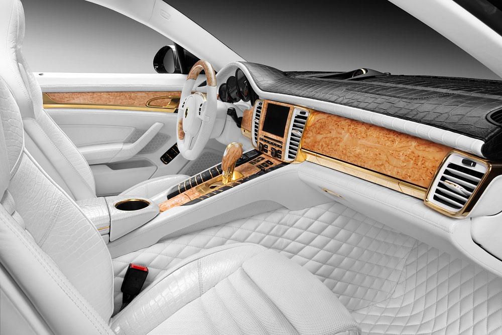 Porsche Panamera Stingray GTR se zlátým a krokodýlým interiérem 8