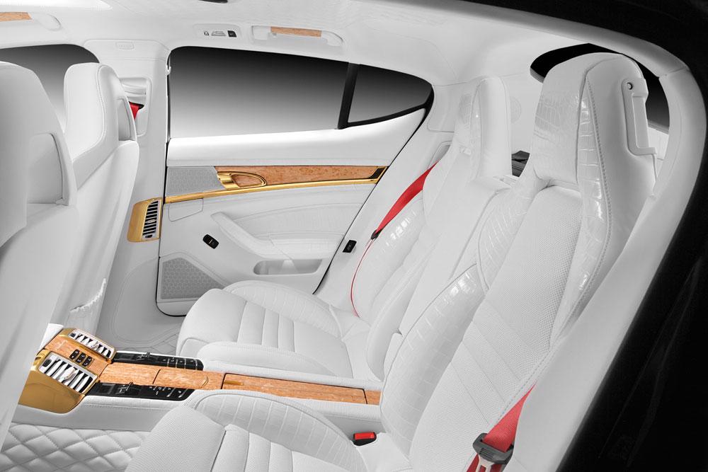 Porsche Panamera Stingray GTR se zlátým a krokodýlým interiérem 9