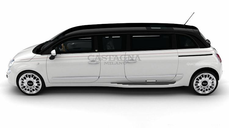 Italská minilimuzína Castagna Fiat 500 Limo 4